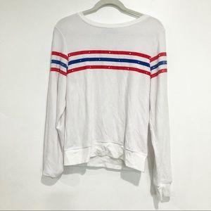 Wildfox Red white & blue striped jumper